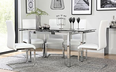 Space Chrome and Black Glass Extending Dining Table with 4 Perth White Leather Chairs