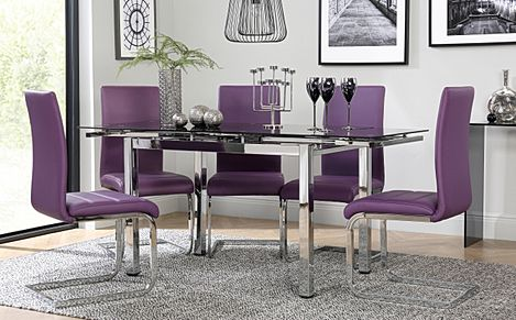 Space Chrome and Black Glass Extending Dining Table with 6 Perth Purple Leather Chairs