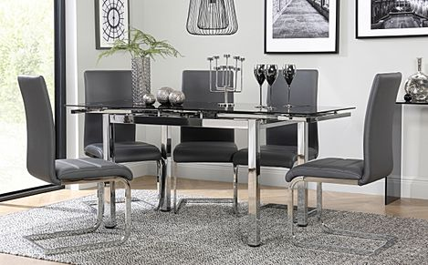 Space Chrome & Black Glass Extending Dining Table with 6 Perth Grey Leather Chairs