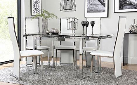 Space Chrome and Black Glass Extending Dining Table with 6 Celeste White Leather Chairs