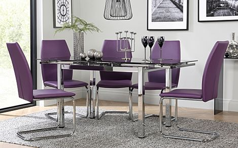 Space Chrome & Black Glass Extending Dining Table with 4 Pica Purple Chairs