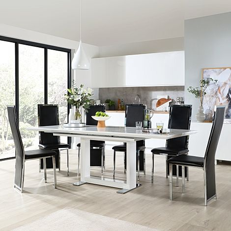 Tokyo White High Gloss Extending Dining Table with 8 Celeste Black Leather Chairs