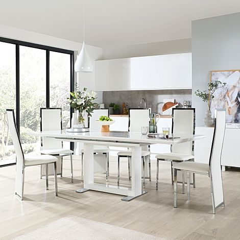 Tokyo White High Gloss Extending Dining Table with 8 Celeste White Leather Chairs