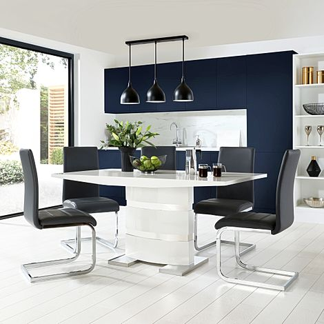 Komoro White High Gloss Dining Table with 6 Perth Grey Leather Chairs