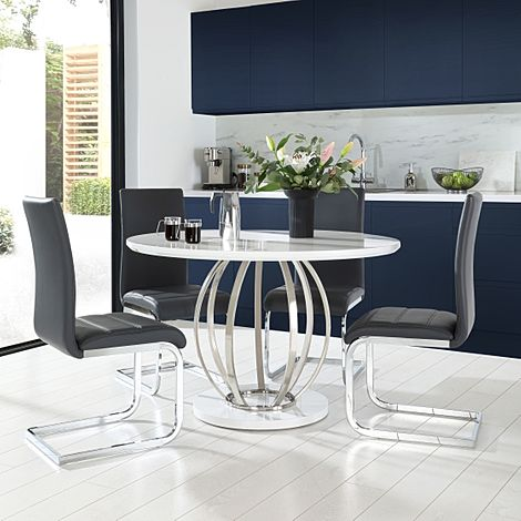 Savoy Round White High Gloss and Chrome Dining Table with 4 Perth Grey Leather Chairs