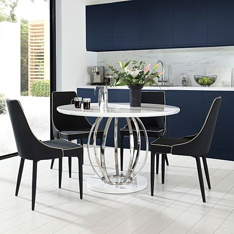 Savoy Round White High Gloss and Chrome Dining Table with 4 Modena Black Fabric Chairs