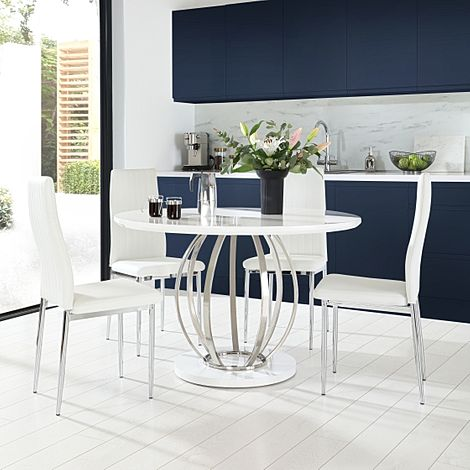 Savoy Round White High Gloss and Chrome Dining Table with 4 Leon White Leather Chairs