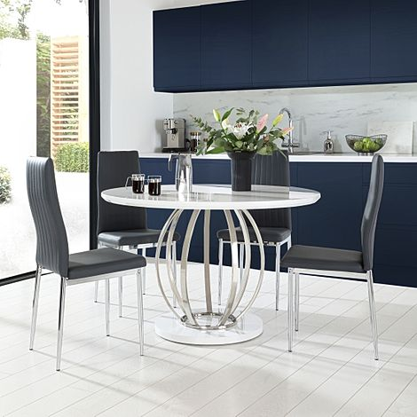 Savoy Round White High Gloss and Chrome Dining Table with 4 Leon Grey Leather Chairs