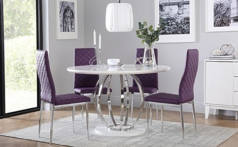 Savoy Round White High Gloss and Chrome Dining Table with 4 Renzo Purple Chairs