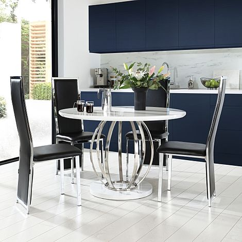 Savoy Round White High Gloss and Chrome Dining Table with 4 Celeste Black Chairs