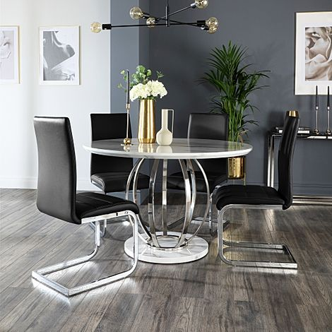 Savoy Round White Marble and Chrome Dining Table with 4 Perth Black Chairs