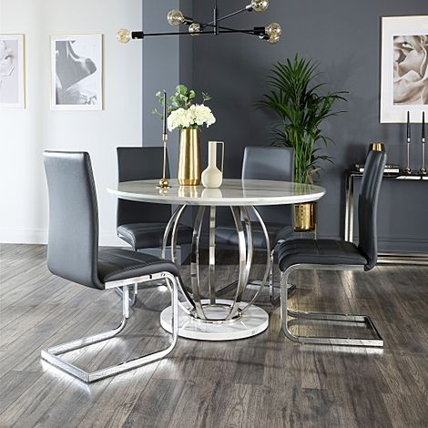 Savoy Round White Marble and Chrome Dining Table with 4 Perth Grey Leather Chairs