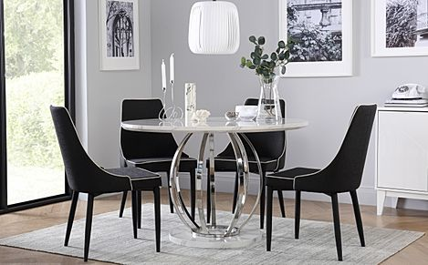 Savoy Round White Marble and Chrome Dining Table with 4 Modena Black Fabric Chairs