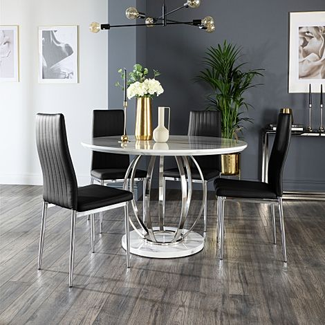 Savoy Round White Marble and Chrome Dining Table with 4 Leon Black Leather Chairs