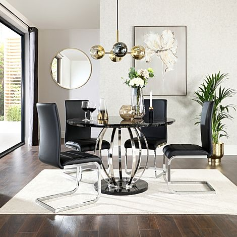 Savoy Round Black Marble and Chrome Dining Table with 4 Perth Black Chairs