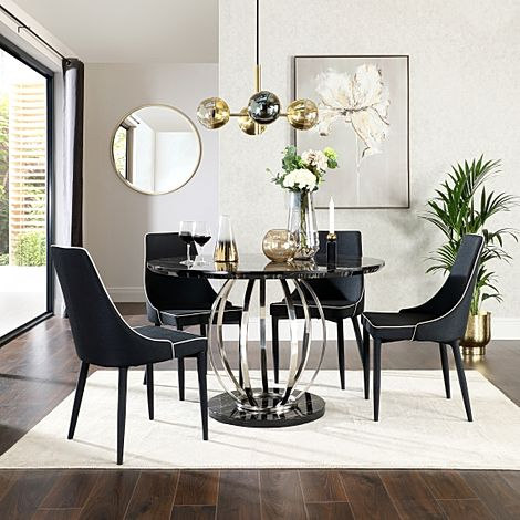 Savoy Round Black Marble and Chrome Dining Table with 4 Modena Black Fabric Chairs