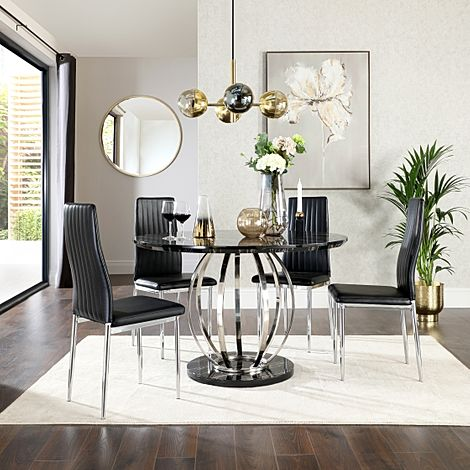 Savoy Round Black Marble and Chrome Dining Table with 4 Leon Black Leather Chairs