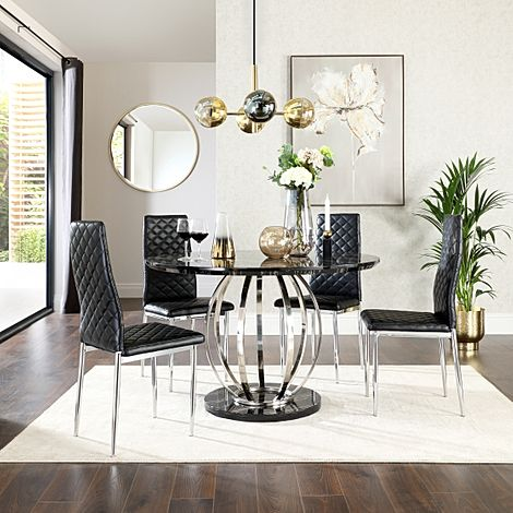 Savoy Round Black Marble and Chrome Dining Table with 4 Renzo Black Leather Chairs