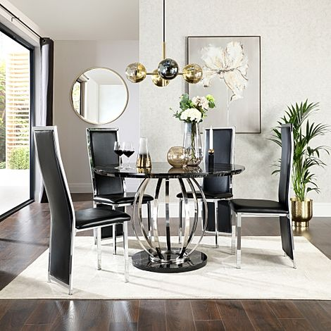 Savoy Round Black Marble and Chrome Dining Table with 4 Celeste Black Leather Chairs
