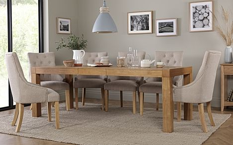 Cambridge 175-220cm Oak Extending Dining Table with 6 Duke Oatmeal Fabric Chairs