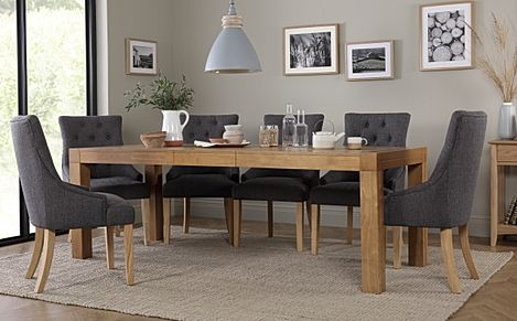Cambridge 175-220cm Oak Extending Dining Table with 6 Duke Slate Fabric Chairs