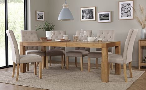Cambridge Oak 175-220cm Extending Dining Table with 6 Hatfield Oatmeal Fabric Chairs