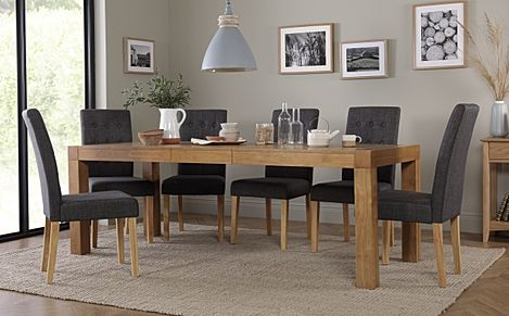 Cambridge 175-220cm Oak Extending Dining Table with 6 Regent Slate Fabric Chairs