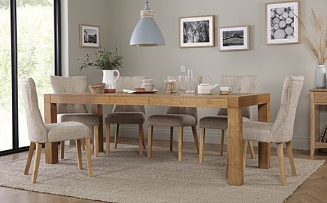 Cambridge 175-220cm Oak Extending Dining Table with 6 Bewley Oatmeal Fabric Chairs