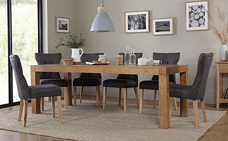 Cambridge 175-220cm Oak Extending Dining Table with 8 Bewley Slate Fabric Chairs