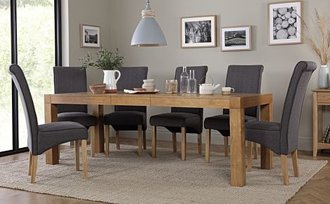 Cambridge 175-220cm Oak Extending Dining Table with 6 Stamford Slate Fabric Chairs