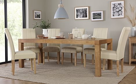 Cambridge 175-220cm Oak Extending Dining Table with 6 Carrick Ivory Leather Chairs