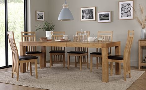 Cambridge 175-220cm Oak Extending Dining Table with 6 Bali Chairs (Brown Leather Seat Pads)