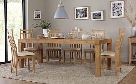 Cambridge 175-220cm Oak Extending Dining Table with 8 Bali Chairs (Ivory Leather Seat Pads)