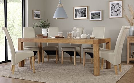 Cambridge Oak Extending Dining Table with 6 Boston Ivory Chairs