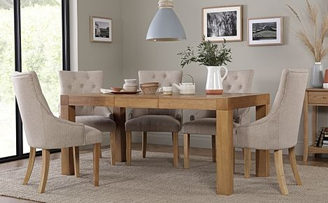Cambridge 125-170cm Oak Extending Dining Table with 6 Duke Oatmeal Fabric Chairs