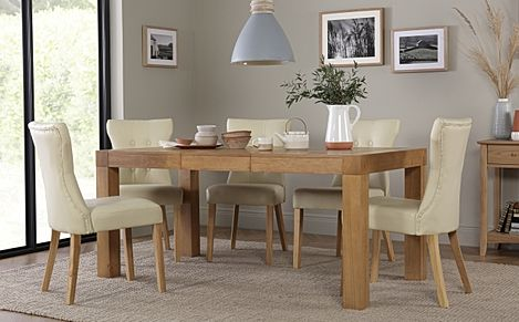 Cambridge 125-170cm Oak Extending Dining Table with 6 Bewley Ivory Leather Chairs