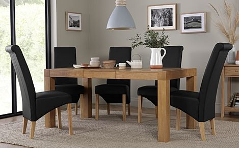 Cambridge 125-170cm Oak Extending Dining Table with 4 Richmond Black Leather Chairs