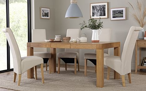 Cambridge 125-170cm Oak Extending Dining Table with 6 Richmond Ivory Leather Chairs