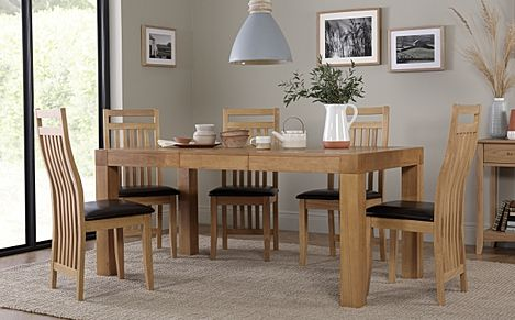 Cambridge 125-170cm Oak Extending Dining Table with 6 Bali Chairs (Brown Leather Seat Pads)