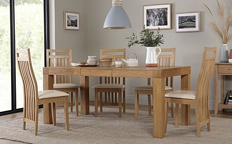 Cambridge 125-170cm Oak Extending Dining Table with 6 Bali Chairs (Ivory Leather Seat Pads)