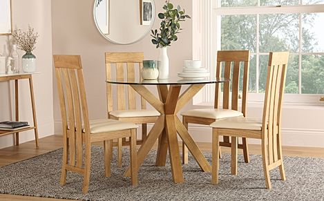 Hatton Round Oak and Glass Dining Table with 4 Chester Chairs (Ivory Leather Seat Pads)