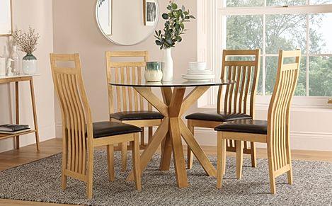 Hatton Round Oak and Glass Dining Table with 4 Bali Chairs (Brown Seat Pad)