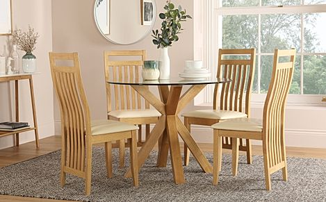Hatton Round Oak and Glass Dining Table with 4 Bali Chairs (Ivory Leather Seat Pads)