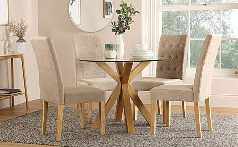 Hatton Round Oak and Glass Dining Table with 4 Regent Oatmeal Fabric Chairs
