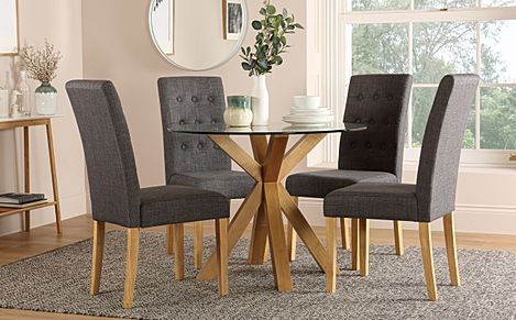 Hatton Round Oak and Glass Dining Table with 4 Regent Slate Fabric Chairs