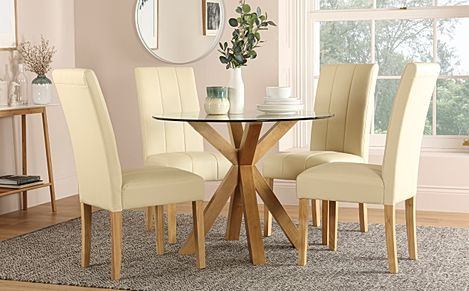 Hatton Round Oak and Glass Dining Table with 4 Carrick Ivory Leather Chairs