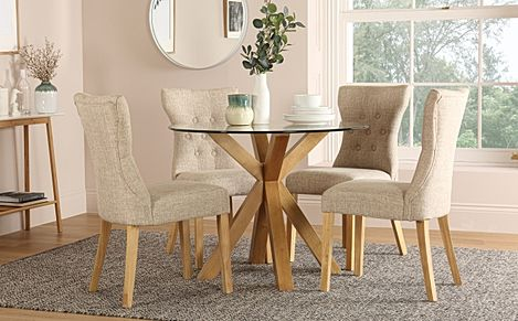 Hatton Round Oak and Glass Dining Table with 4 Bewley Oatmeal Fabric Chairs