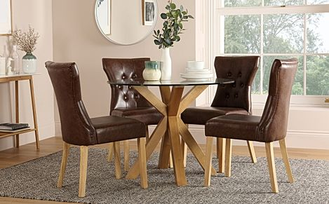 Hatton Round Oak and Glass Dining Table with 4 Bewley Club Brown Leather Chairs