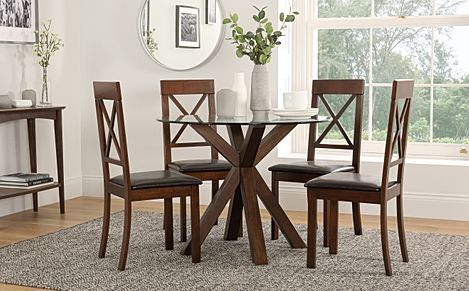 Hatton Round Dark Wood and Glass Dining Table with 4 Kendal Chairs (Brown Leather Seat Pads)