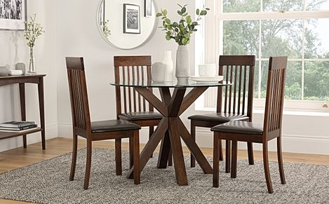 Hatton Round Dark Wood and Glass Dining Table with 4 Oxford Chairs (Brown Leather Seat Pads)